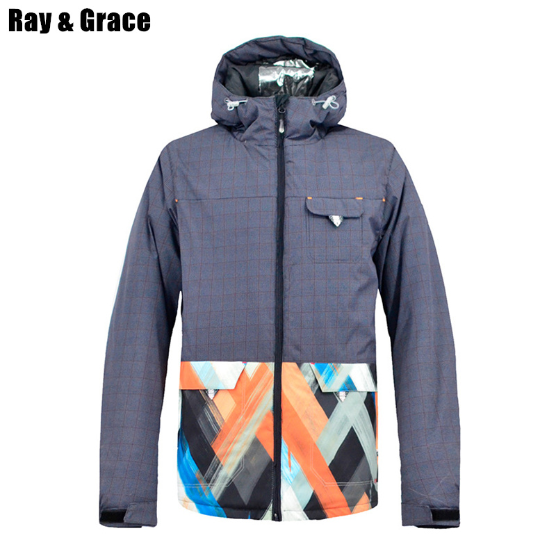 RAY GRACE Men's Ski Snow Jacket Snowboard Sport Jacket Men Winter Waterproof Outdoor Warm Coat Clothing For Snow Male Skiing dropshipping skiing jacket pant suits for man warm men s ski clothing waterproof men snowboard coat snow jacket for male