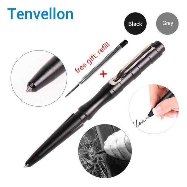 Tenvellon suprimentos de auto defesa caneta tático proteção segurança pessoal ferramenta defesa cinza cor preta canetas táticas segurança edc