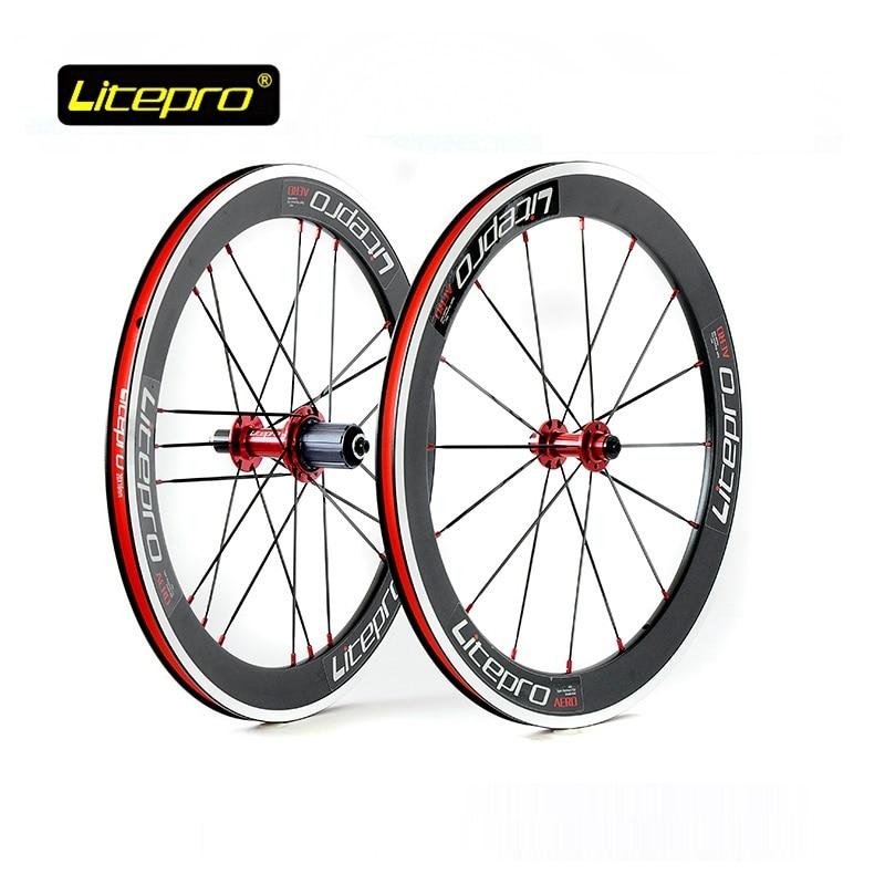 Litepro 406 451 Folding Bike Wheelset 4 Bearing 20 Inch Double Wall Alloy 16/20 Hole Rim SP8 Vp18 Folding Road Bicycle Wheel Set|Bicycle Wheel| |  - title=
