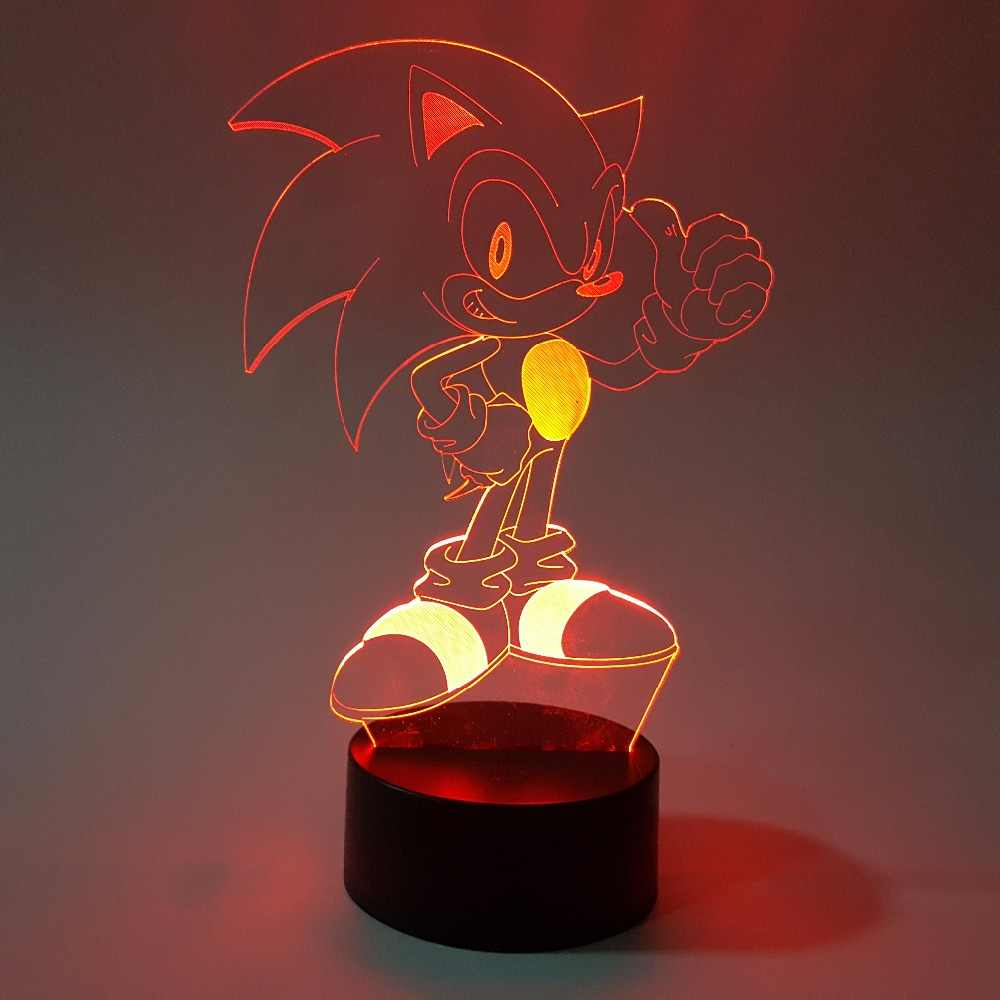 Sonic 3D Nachtlampje Visuele Illusie Led Rgb Veranderende Sonic The Hedgehog Action Figure Novelty Licht Voor Kerst G
