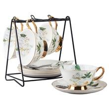 Full Set delicate bone china coffee cup set european Camellia cup tea kettle coffee teapot tea cup saucer set kitchen Drinkware