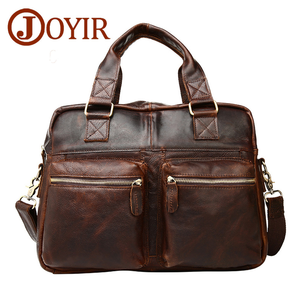 Genuine leather Brand Men handbag Business Briefcases bag Cow Crazy Horse Leather messenger Shoulder High capacity Travel Bags