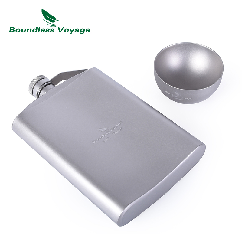 Boundless Voyage 250ml Titanium Hip Flask Sake Cup Set with Funnel Camping Picnic Sport Pocket Alcohol Whiskey Flagon Wine Mug in Sports Bottles from Sports Entertainment