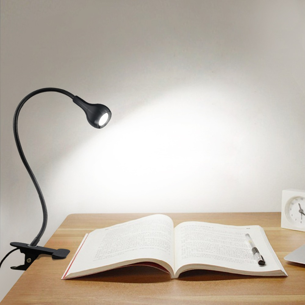 USB Power Clip Holder LED Book Light Desk Lamp 1W Flexible Bed Reading Book Lights Table Lamp For The Study Room Bedroom Living(China)