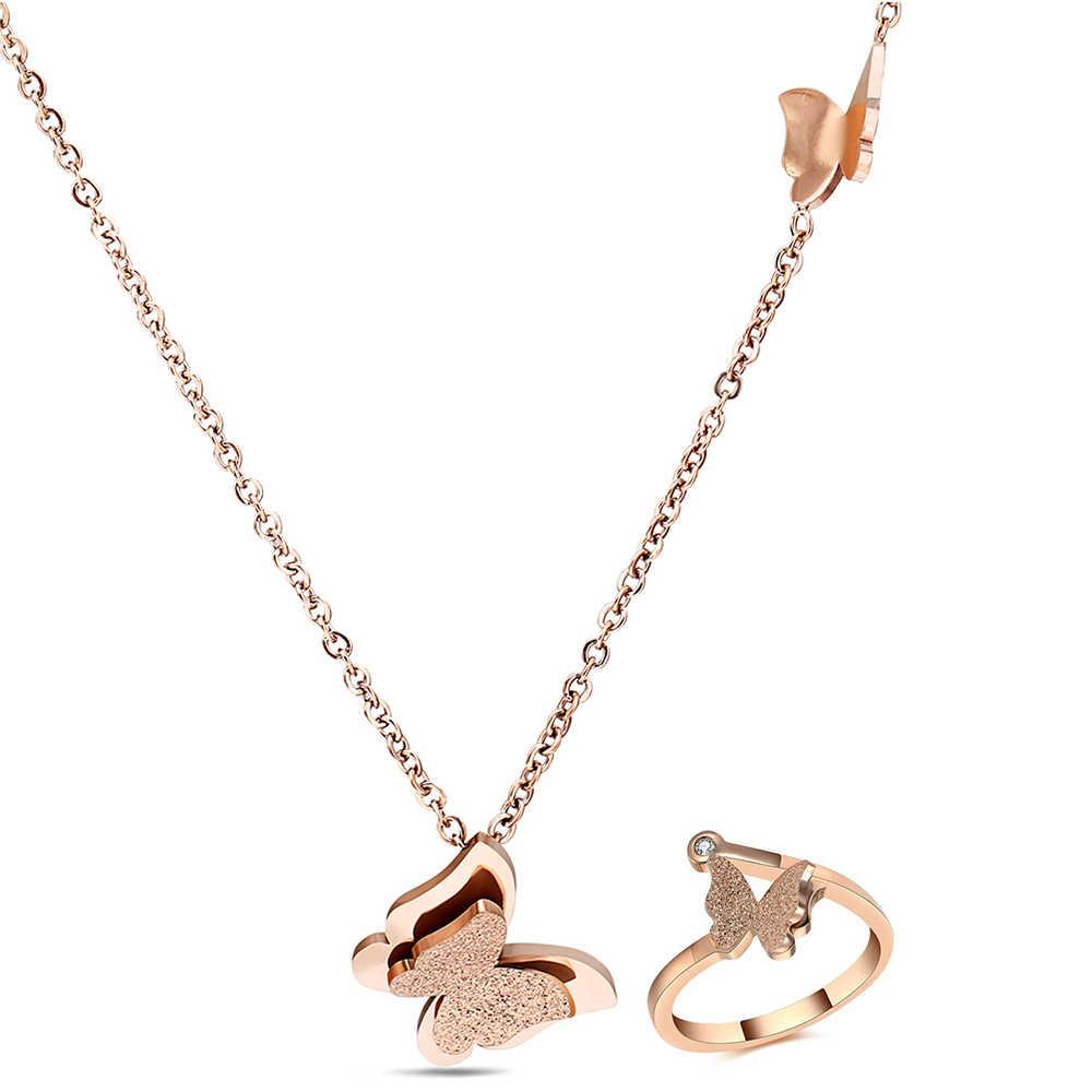 316L edelstahl Rose gold/Gold/Silber farbe matt schmetterling charms schmuck-set halskette + ring