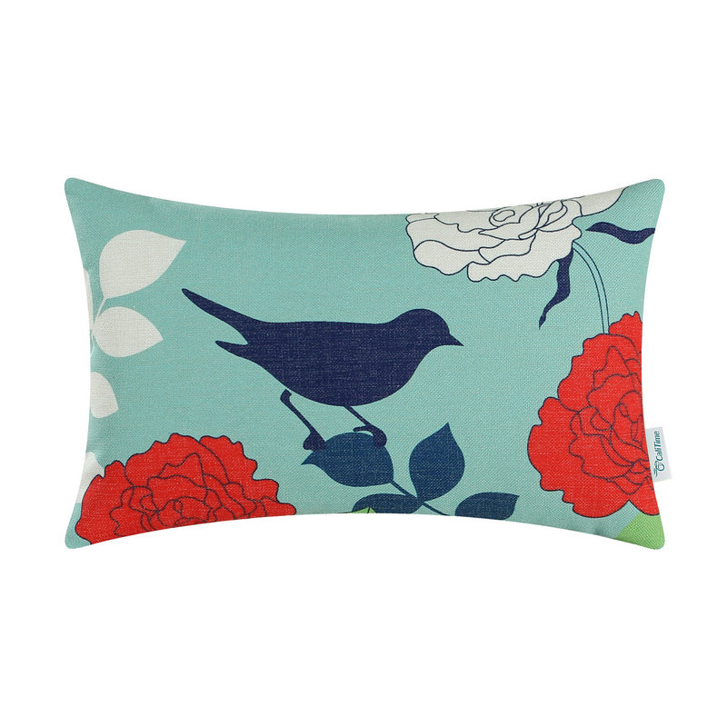 CaliTime Decorative Pillows Shell Cushion Cover Home Sofa Floral Teal Blue  Ground Navy Blue Bird 12