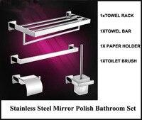Brand New Stainless Steel Bathroom Hardware Set Include Paper Holder Towel Rack Towel Bar Toilet Brush