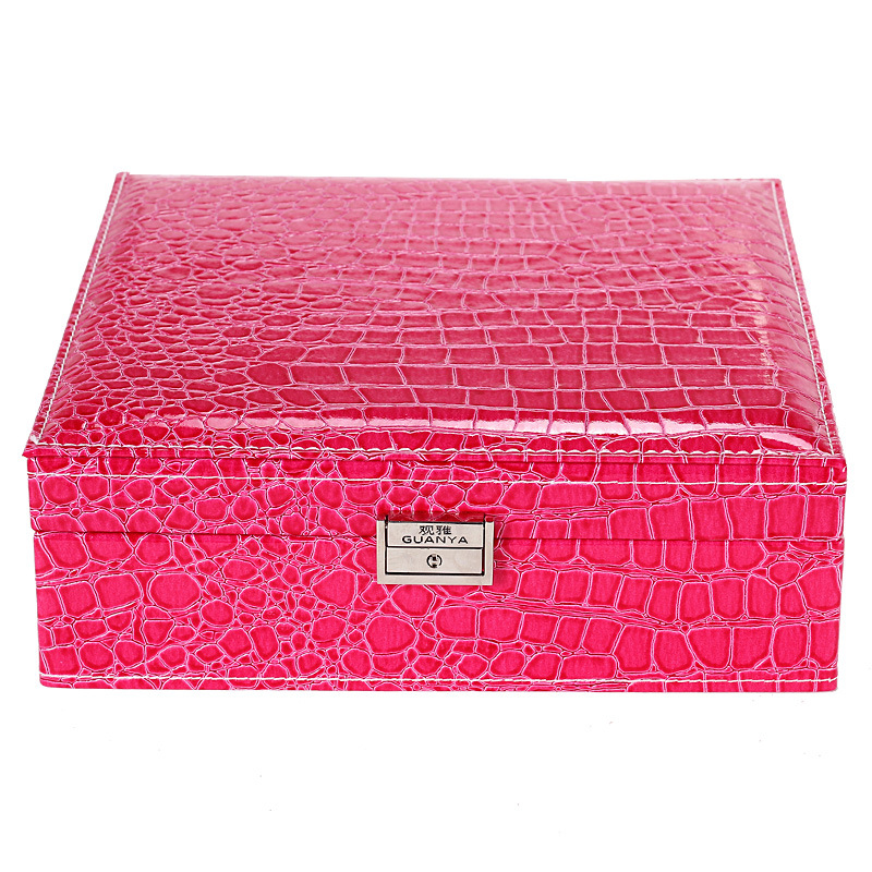 2 Layers Large Leather Square Jewelry Box With Mirror High Quality Pu Jewelry Cases Storage Box For Girls