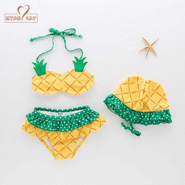 962b6b1c2843 NYAN CAT baby girls swimsuit infant toddler kids children fashion pineapple fruit  swimwear hat+bra+underwear spa beach clothing