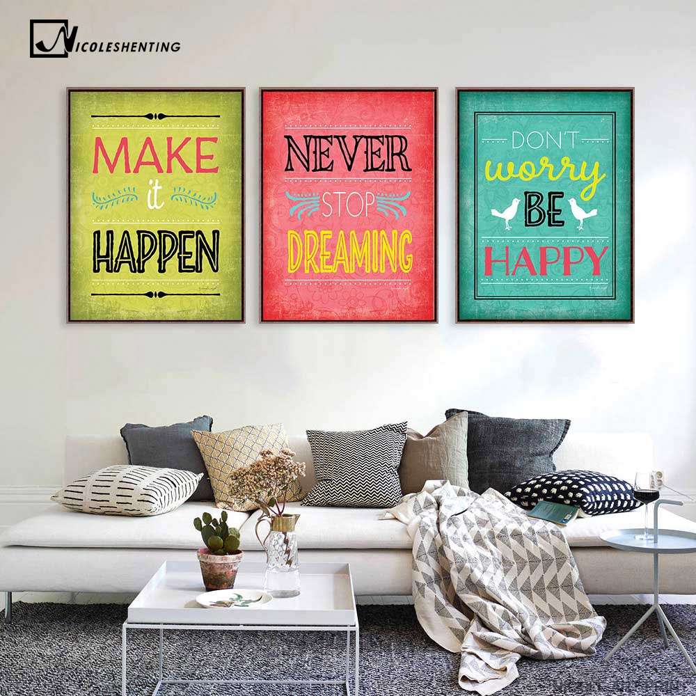 Motivational Quotes Art Canvas Vintage Poster Minimalist ... on Room Decor Posters id=36585