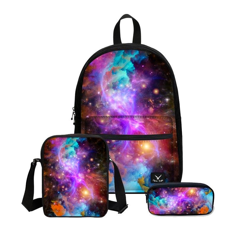 VEEVANV Women Fashion Galaxy Printing Backpacks Canvas Combination 3PCS/SET  Bookbag Teenager School Mochila Shoulder Bags Laptop