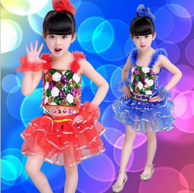 Free shipping,new style green pink Children latin ballroom sequins dance dress skirt  flower Girl's sequin costume