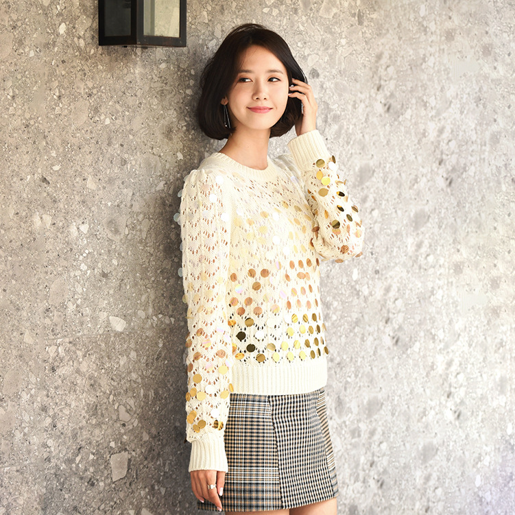 Lin Yuner's Same Sweater Long Sleeve Sequined Knitted Sweater 2019 Pullovers  O-Neck  Computer Knitted Sweater Women