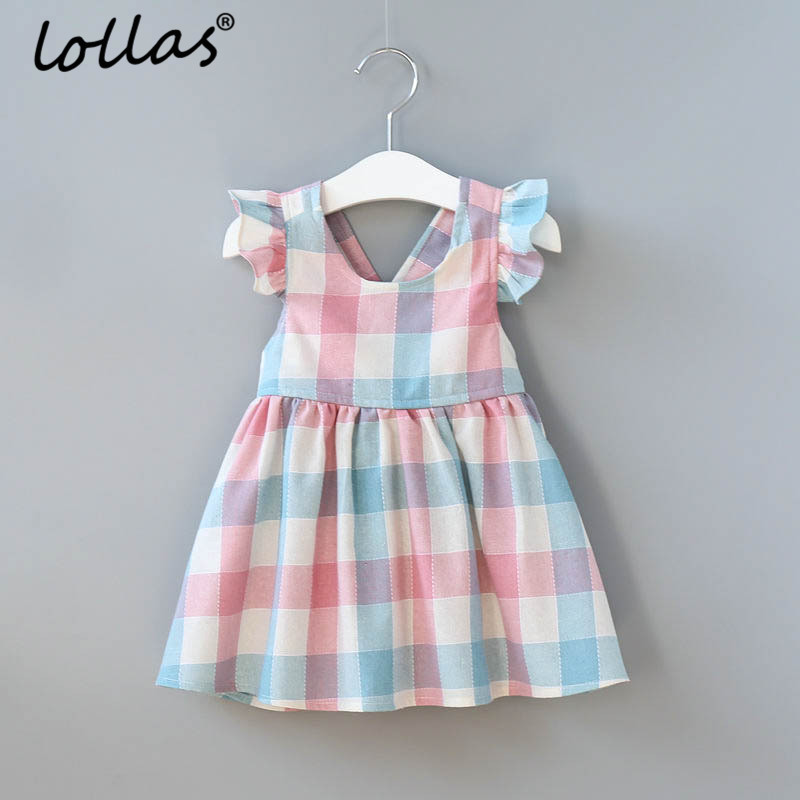 Lollas Girls Dress 2018 New Summer Brand Girls Clothes Ruffles Sleeveless Plaid Design Baby Girls Fashion Dress For 3-8 Years