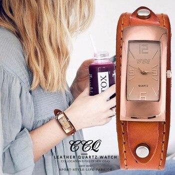 CCQ Brand Vintage Genuine Cow Leather Bracelet Watch Fashion Luxury Casual Women Quartz Watches Wrist Watch Gift Hot Selling