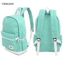 3 stücke Süße Dot Handgelenk Schulter Tragbaren Rucksack Schüler Schultasche Wasserdicht Leinwand Material