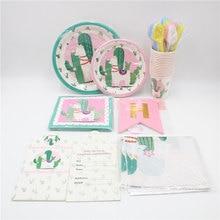 180pcs Llama Party Disposable Tableware Set Happy Birthday Decorations Kids Girl Napkins Plates Alpaca Supplies Favors