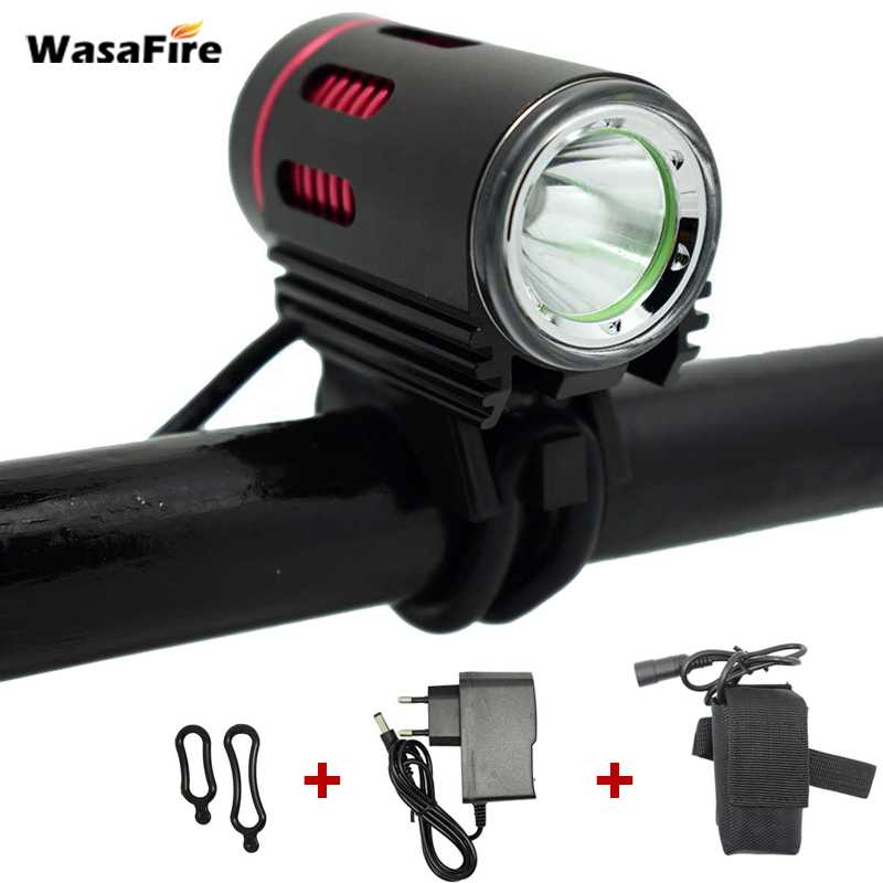 WasaFire LED bike light 4 Mode rechargeable xm-l2 led bicycle Lamp Power Bank Front Bike Light 8.4v battery pack charger 18650 rechargeable 3000mah 8 4v 4 x 18650 2s2p battery pack for bicycle light black
