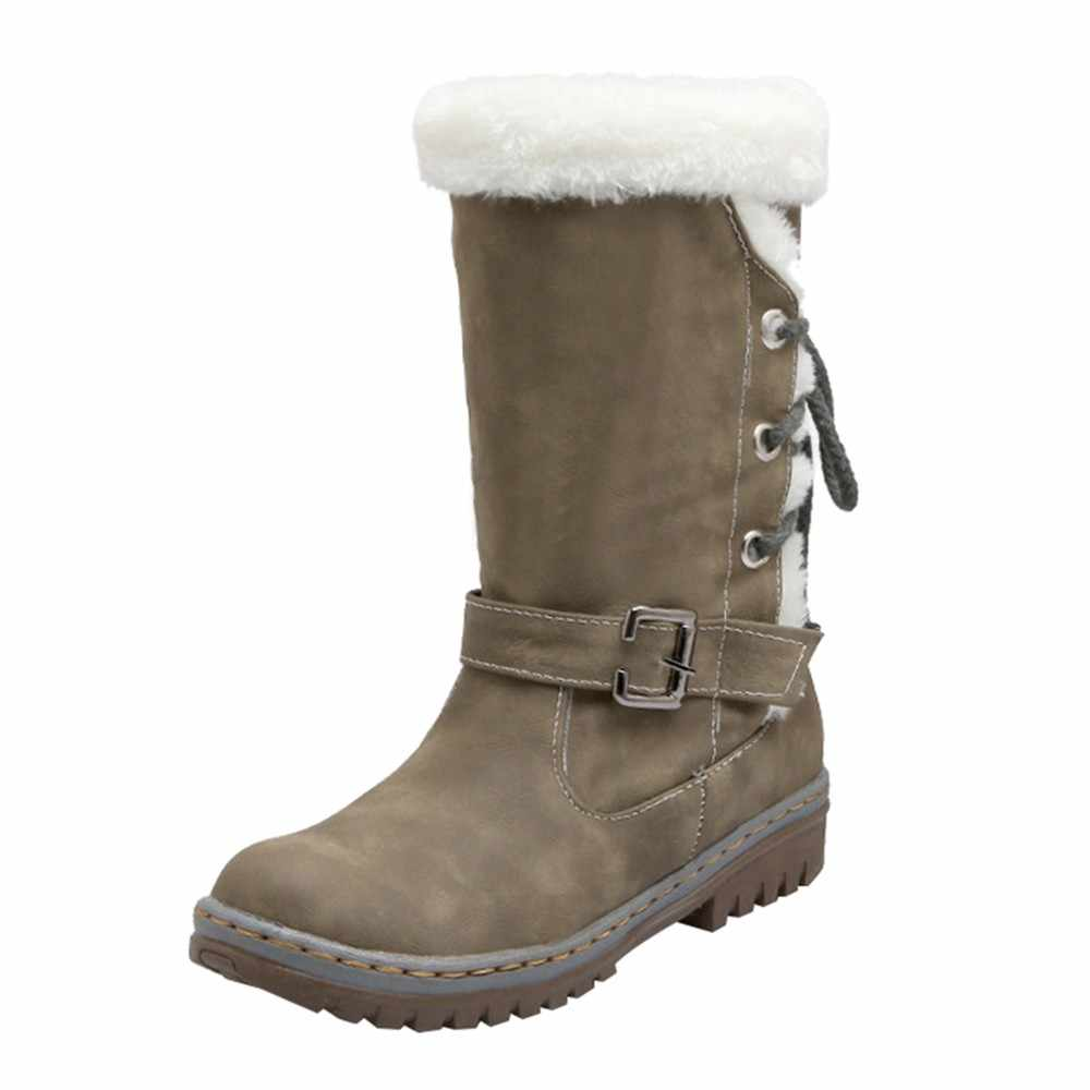 2018 Klassiekers Vrouwen Snowboots Mode Platte Hakken Winter Schoenen Vrouw Warme Vacht Dames Laarzen zapatos de mujer Plus Size 35 ~ 43