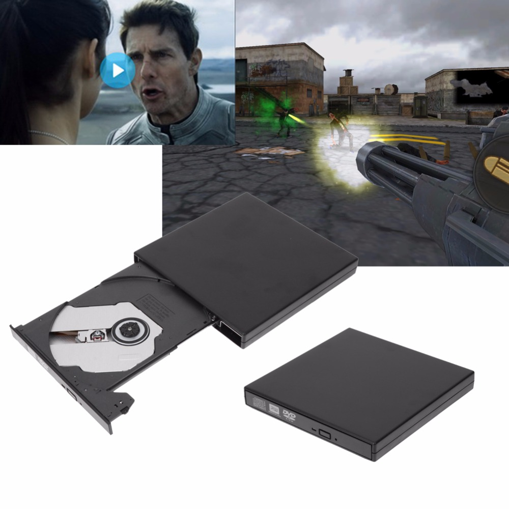 New Hot Sale External Black USB Slim 8x DVDRW DL DVD CD RW Burner Writer font
