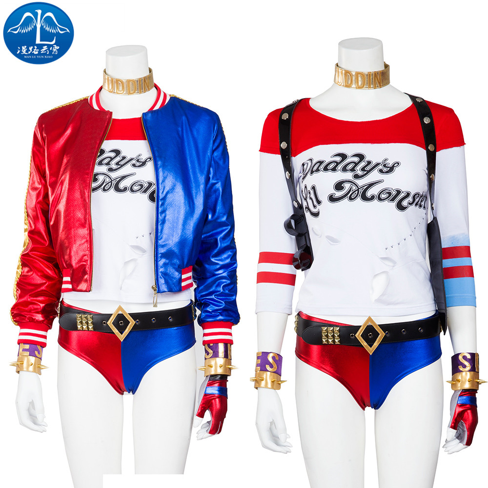 Harley Quinn Cosplay Costume Women Halloween Suicide Squad Harley Quinn Costume For Women Full Set Custom Made Drop Ship suicide squad harley quinn boots bota accessories black women for harley shoes harley quinn costume cosplay suicide squad