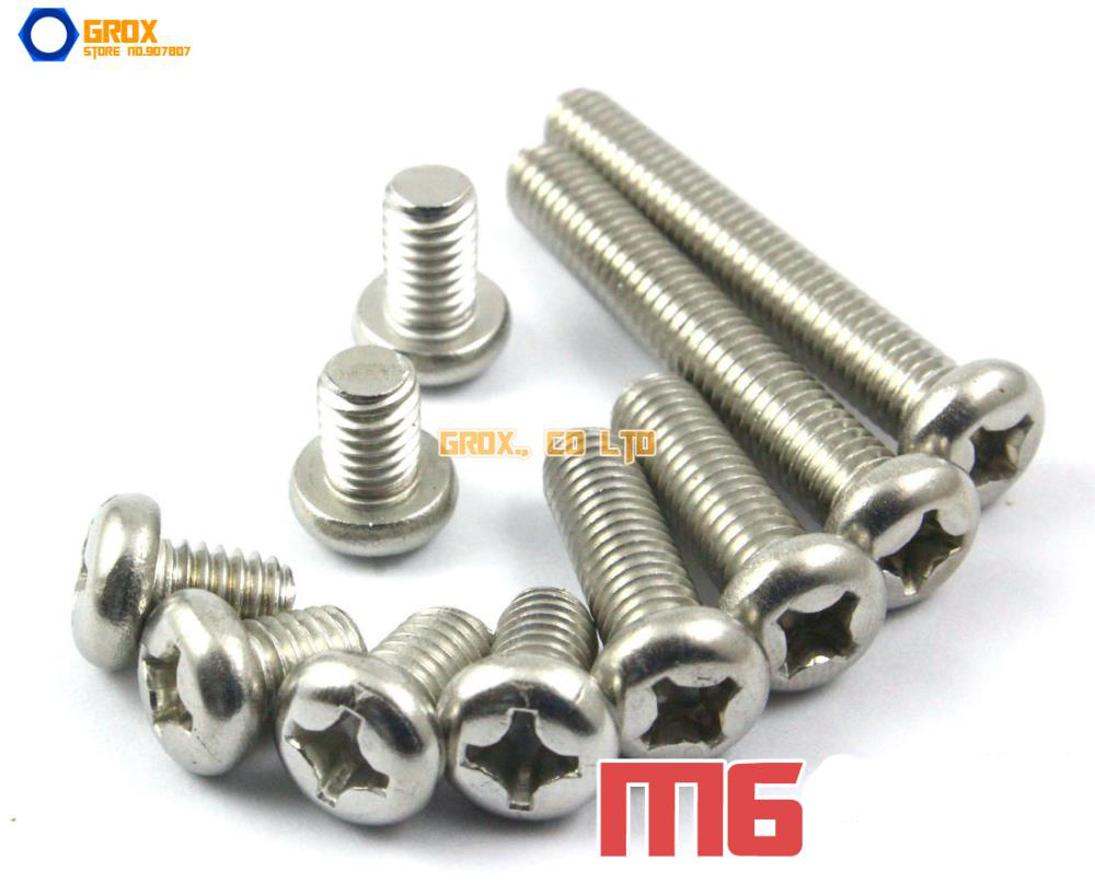 M6 304 Stainless Steel Phillips Pan Head Machine Screw huhao 1pc 4mm one flute spiral cutter router bit cnc end mill for mdf carbide milling cutter tugster steel router bits for wood