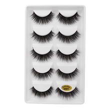 SHIDISHANGPIN thick false eyelashes 5 pair mink plastic cotton stalk lashes makeup 1 box