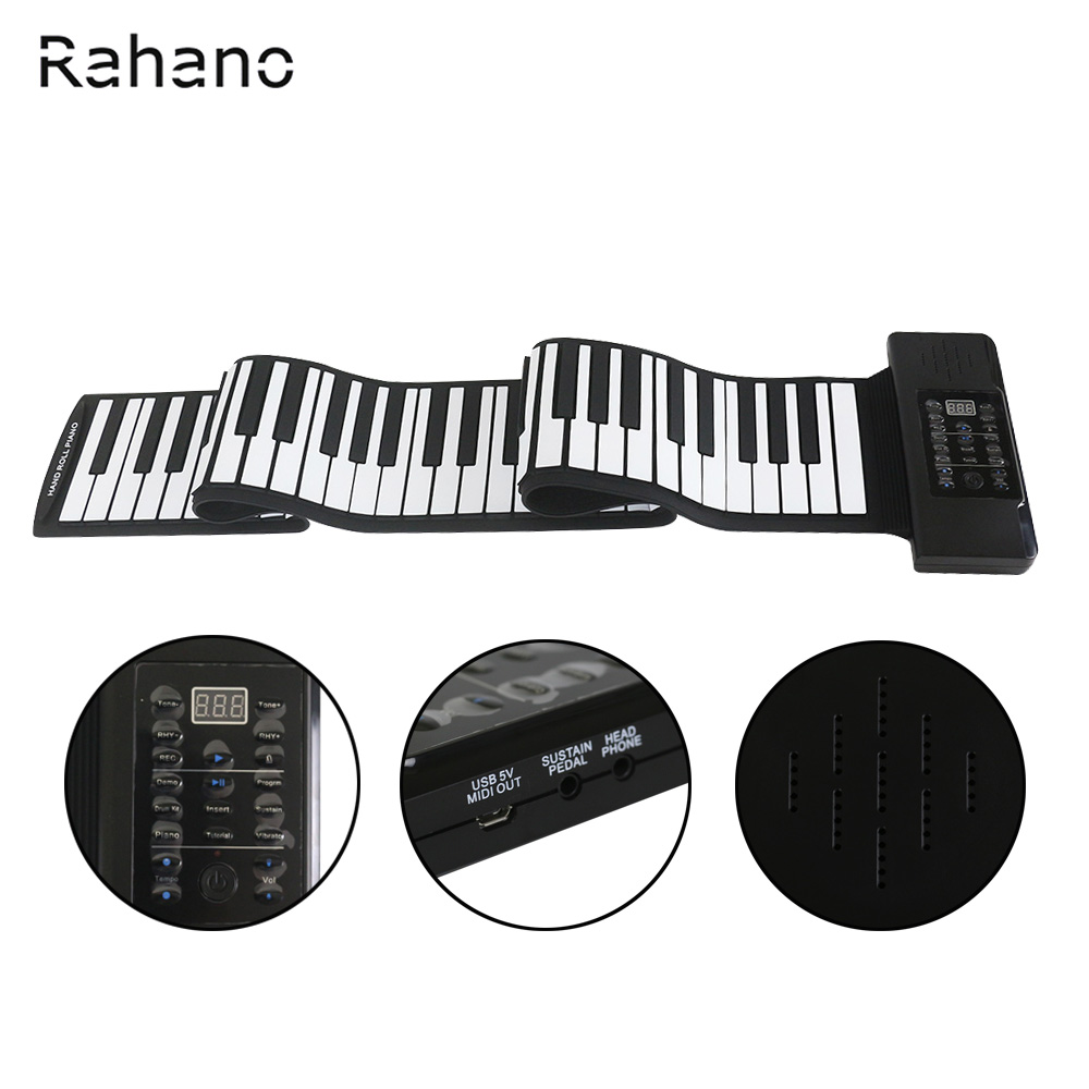 Rahano konix 88 клавиш MIDI 128 тонн Электронные органы roll up складной Пианино Встроенный Динамик для детей