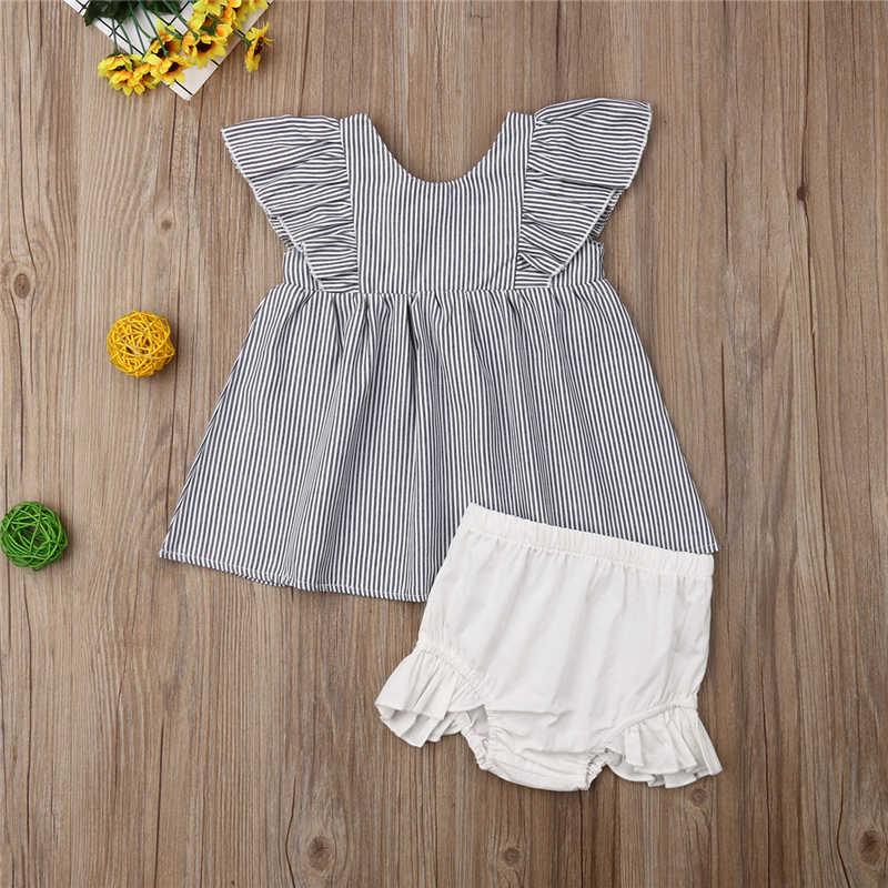 2 piezas ropa de bebé niña de Tops pantalones cortos recién nacido Ropa de verano niño Casual ropa de bebé traje Braga 0-24Months