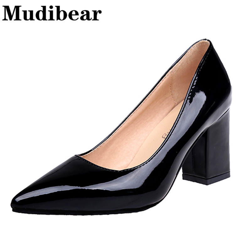 Mudibear High Heel Pointed Toe Large Size 34-42 Ladies Office Shoes square Heels slip-on women pumps sequined 5 Colors lady shoe vinlle 2017 women pumps college style square med heel vintage slip on pu leather shoes casual round toe girl shoes size 34 40