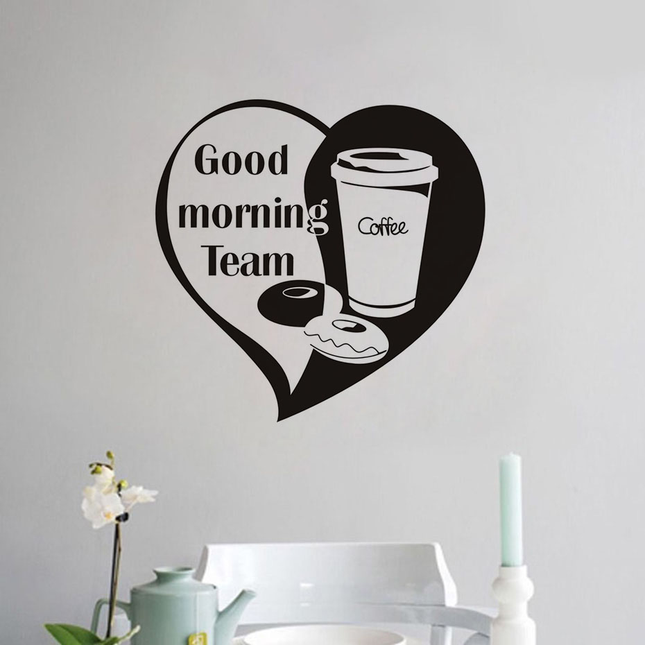 Good Morning Team Coffee Wall Sticker Vinyl Love Wallpaper DIY Walls Art Decals Welcome For Cafe Shop Home Decoration