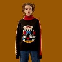 New Autumn Women Vintage Black Sweater Cotton Knitwear Pullover Knitted Tops Geometric Thicken Warm Sweaters Winter Turtleneck