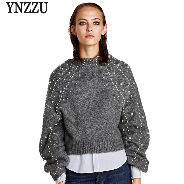 Pearl Beaded Lantern Sleeve Loose Wool Sweater Jumpers Vintage Gray Short  Warm Women Sweaters and Pullovers High Quality AT119 e97b6c178