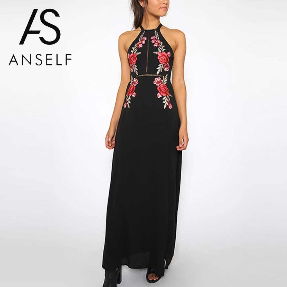 3139be045fa Anself 2018 Floral Embroidery Summer Maxi Dress Women Off Shoulder Long  Beach Dress Sexy Split Boho