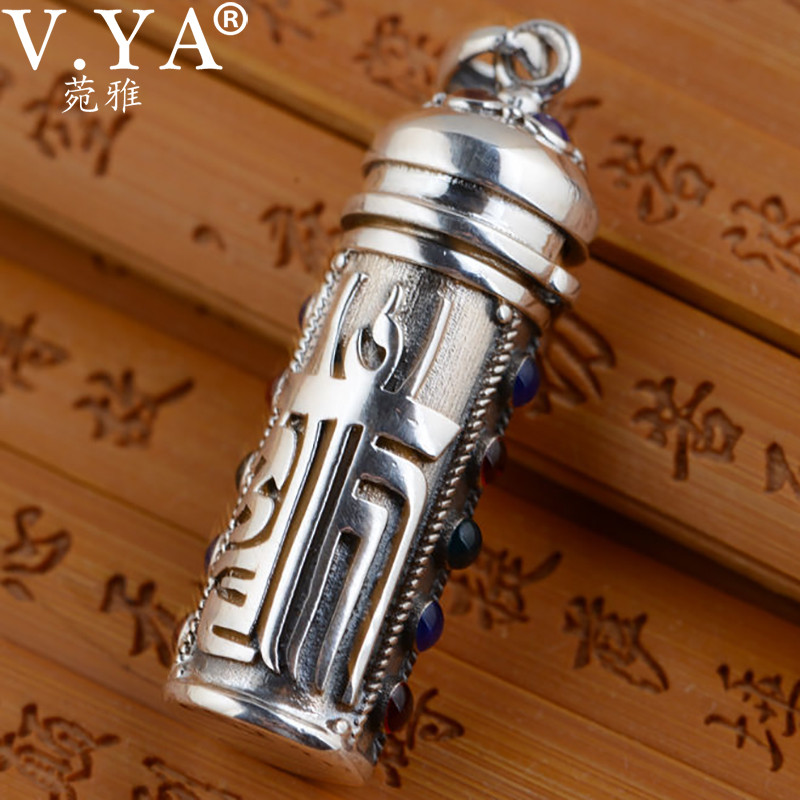 V.YA 925 Sterling Silver Gawu Box Pendant For Men Jewelry Solid Thai Silver Vintage Round PendantsV.YA 925 Sterling Silver Gawu Box Pendant For Men Jewelry Solid Thai Silver Vintage Round Pendants