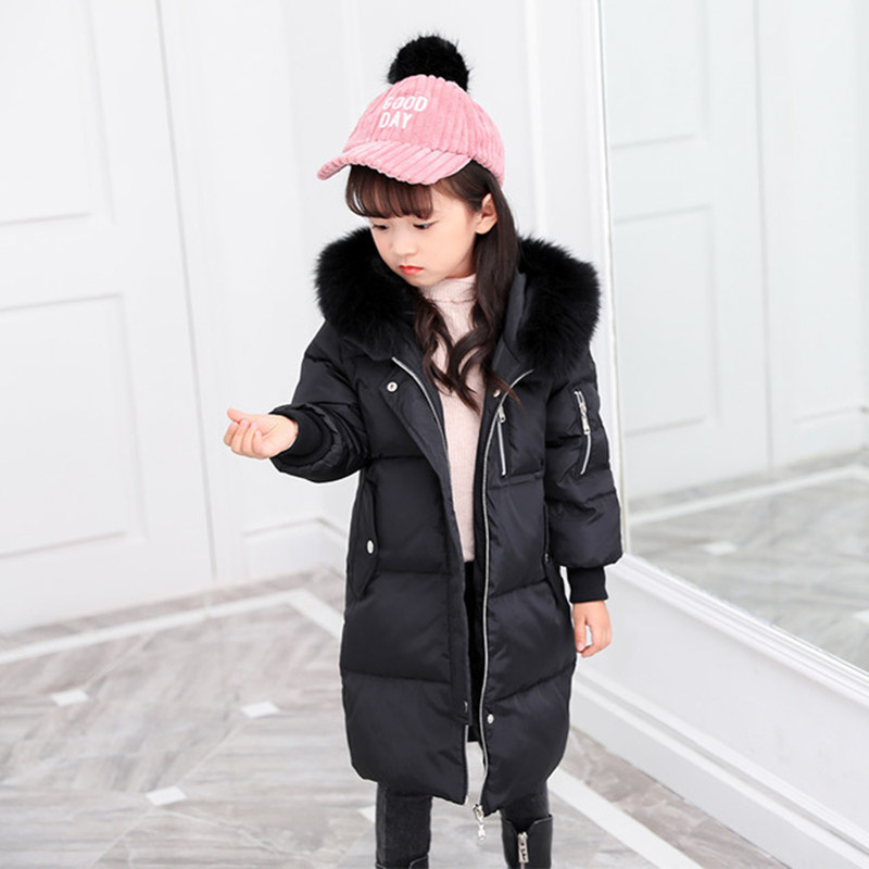 Down Jacket For Girl & Boy Winter Jacket Girls Children Boys Down Coat Fashion Thick Warm Solid Long White Duck Down Jackets boy winter long warm down jacket boy simple fashion warm down jacket boy big fur collar thick coat boy solid color coat
