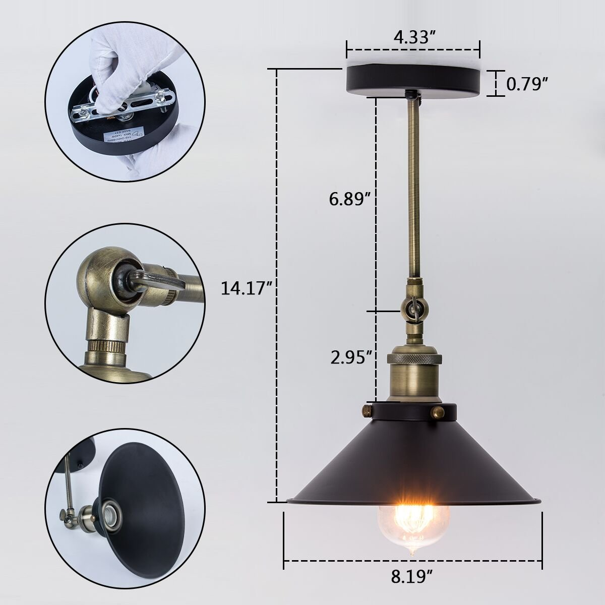 Forceful Retro Industrial Sconce Mini Adjustable Vintage Edison Simplicity Wall Lamp/ceiling Light Loft Style Antique Lampshade Ambilight Volume Large Lights & Lighting