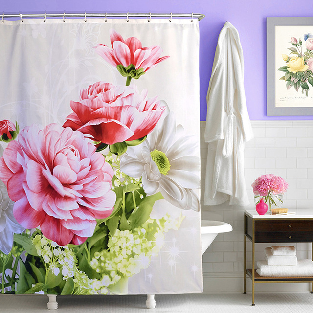 Hot New Pastoral Printing Peony Shower Curtain Polyester Waterproof Fabric Bathroom With Hooks Rings