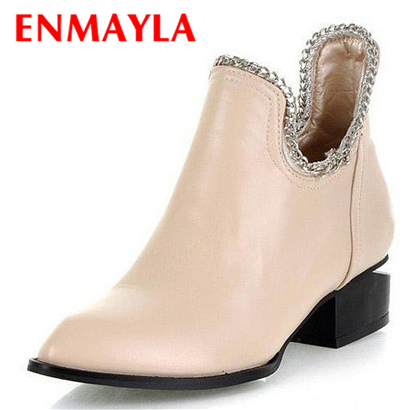ENMAYLA New Fashion Low Heels Women Ankle Boots for Women High-Top Shoes Woman Round Toe Slip-On Platform Flat Boots enmayla ankle boots for women low heels autumn and winter boots shoes woman large size 34 43 round toe motorcycle boots