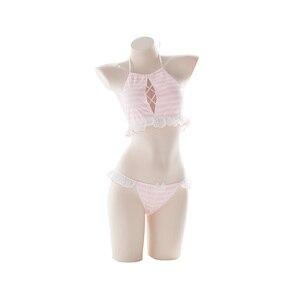 Image 5 - Giapponese Kawaii Lingerie Cosplay Bikini 2Pcs Set Lingerie Carino Sexy Chiffon A Righe Canotta Magliette E Camicette Collant Pigiami Set per Le Donne