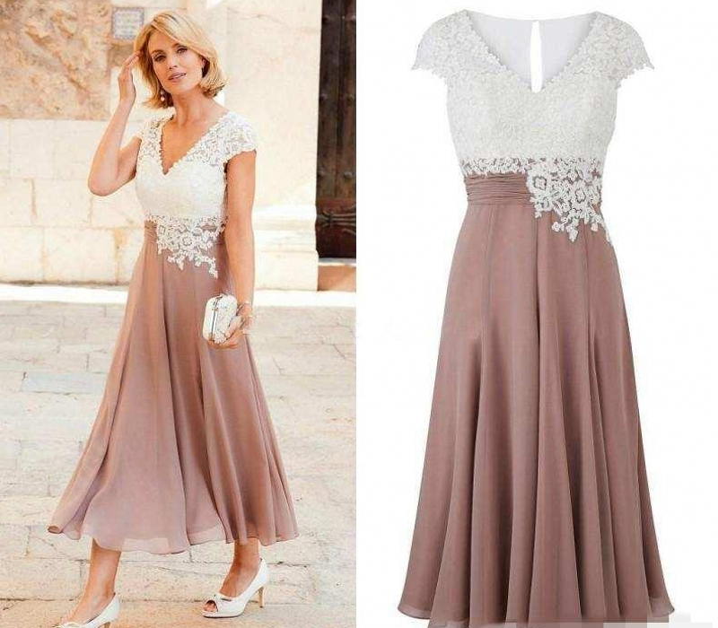 Mother of the Bride Dress Deep V Neck Chiffon Ankle Length Wedding Guest Dress Short Sleeves