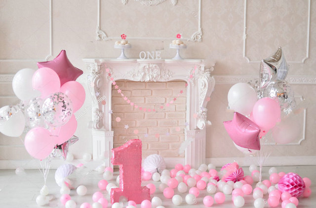 One Year Birthday Decorations White Pink Balloons Holiday Backdrop Vinyl Cloth Computer Print Party Background