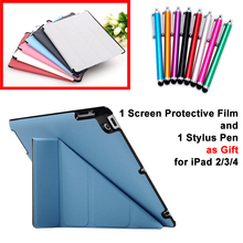 Case for Apple iPad 2 3 4 PU Leather Smart Stand Case Cover for iPad2 iPad3 iPad4 with Screen Protective Film Stylus Pen as Gift
