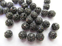 wholesale 50cs 8 12mm Bling Micro Pave Crysta Shamballa Ball beads, Micro Pave Hematite Gold Findings Charm, Round Ball Spacer