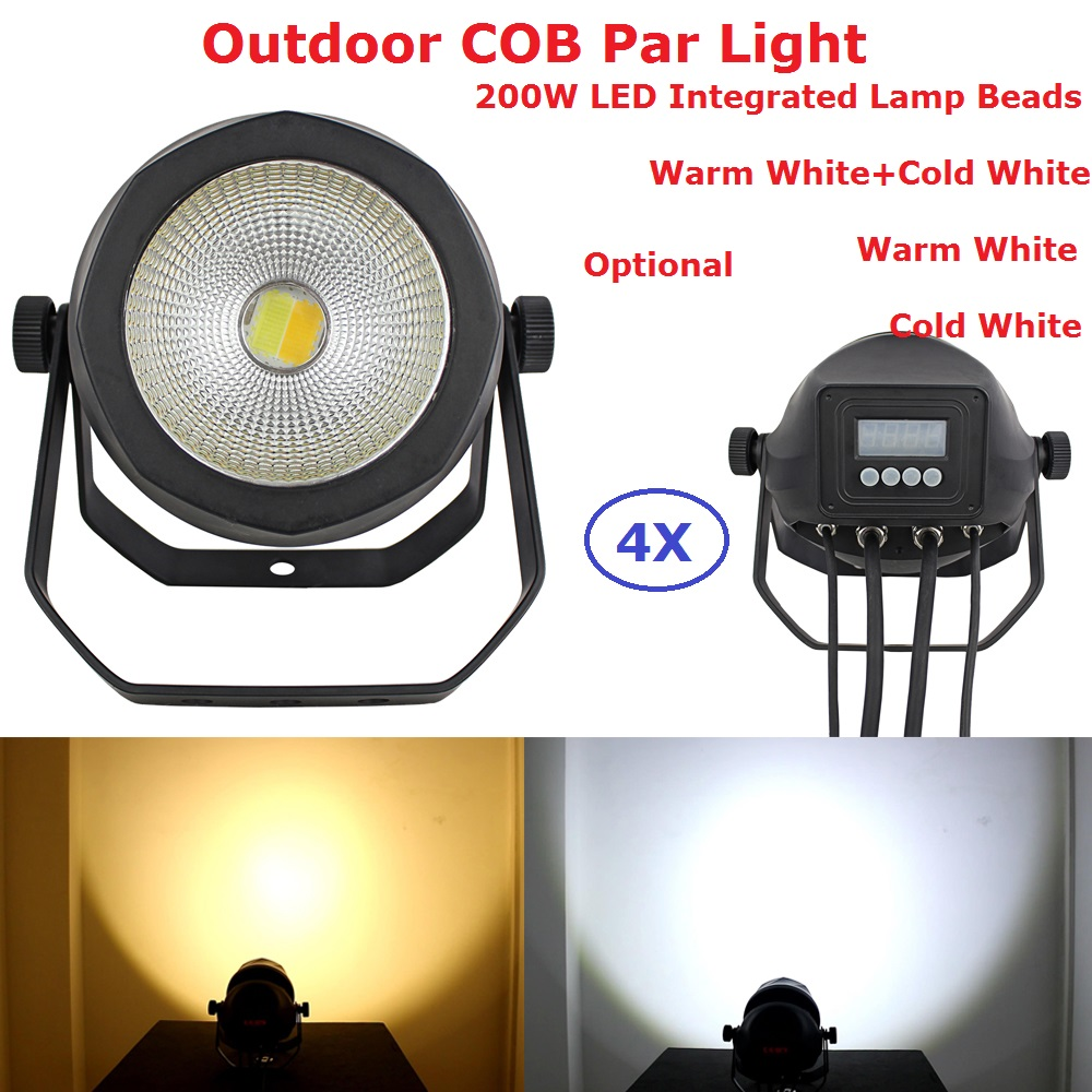 4Pack Carton Package 200W Warm White Or Cold White Optional COB Par Lights 90 240V For Theater TV Stage Studio Outdoor Use|Stage Lighting Effect| |  - title=