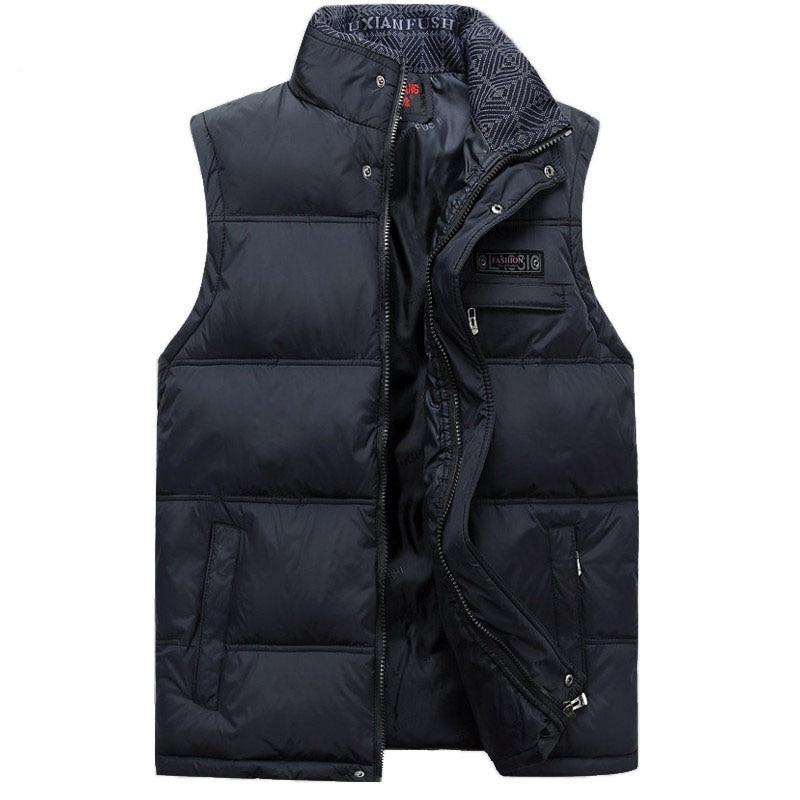 2017 Férfi ujjatlan mellény Homme téli alkalmi kabátok Férfi pamut bélelt férfi meleg mellény Fotós férfi mellény Plus méret 4XL