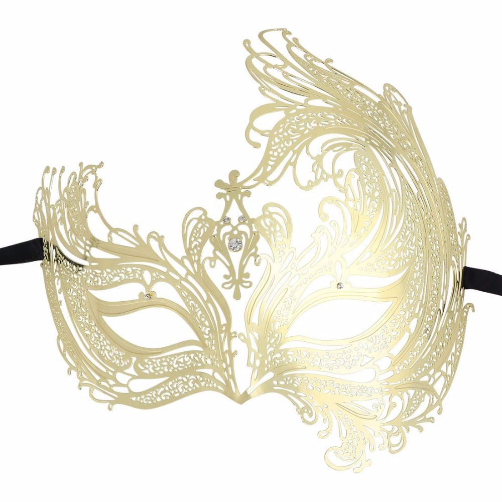 HLC Beautiful Luxury Golden Metal Masquerade Masks for Woman Prom Party  masks-in Party Masks from Home   Garden on Aliexpress.com  fe1e90993d40