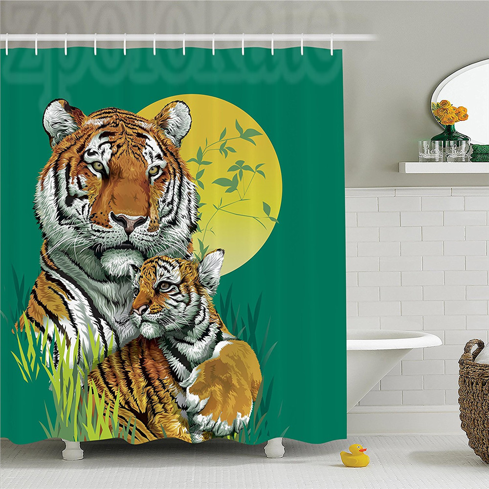 Safari Decor Shower Curtain Set Tiger Family in Jungle Full Moon Light Night Grass Aggressive Abstract Bathroom Accessories