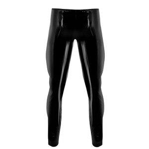 Image 2 - Мужское нижнее белье, облегающие блестящие обтягивающие брюки из лакированной кожи для ночного клуба и вечерние, леггинсы, брюки с отверстием для пениса