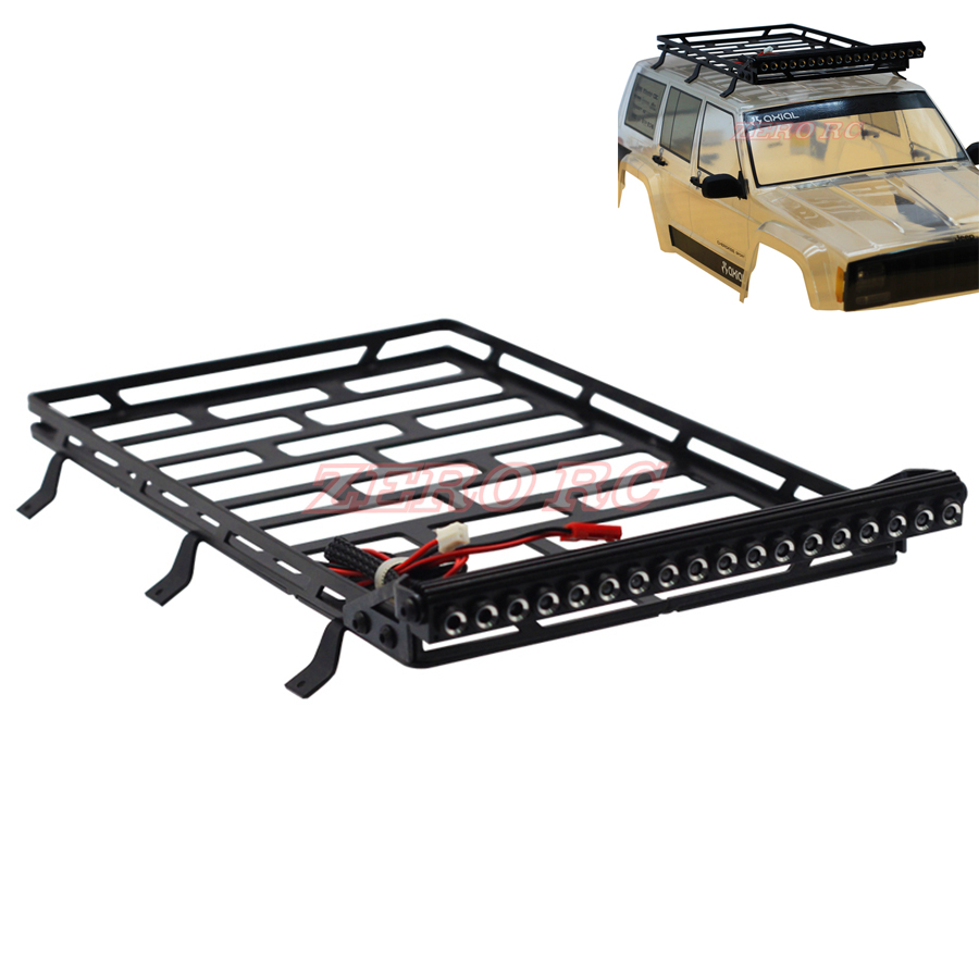 1 10 SCALE FULL METAL Cage Roof Luggage Tray With 18 LED LIGHT For RC Axial